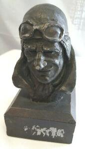 Vintage-Aviator-Fighter-Pilot-Bust-Sculpture-Signed-Michael-Garman-1969