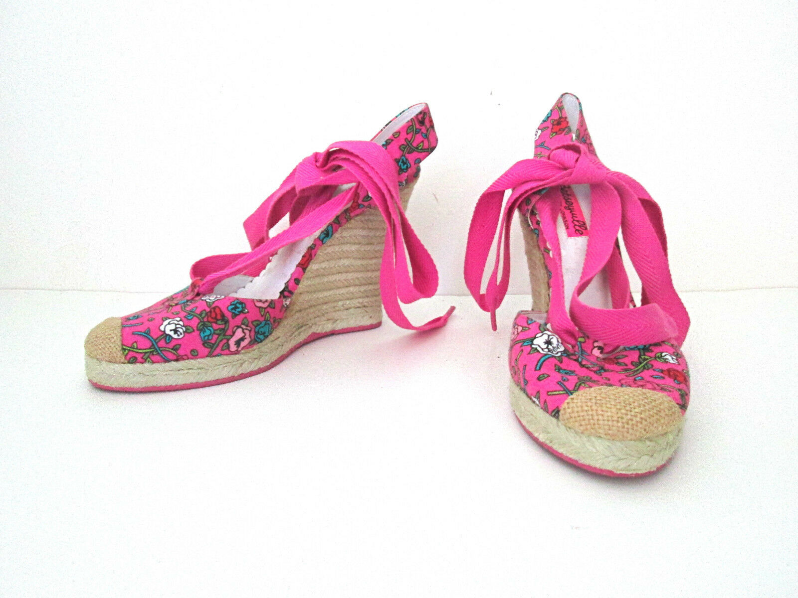 Betsey Johnson espadrilles pink floral rope wedge shoes ankle laces 7.5