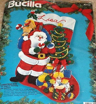 "1994 Bucilla Santa w/ Toys ""Christmas Eve"" Felt / Jeweled Stocking Kit NIP 18"""