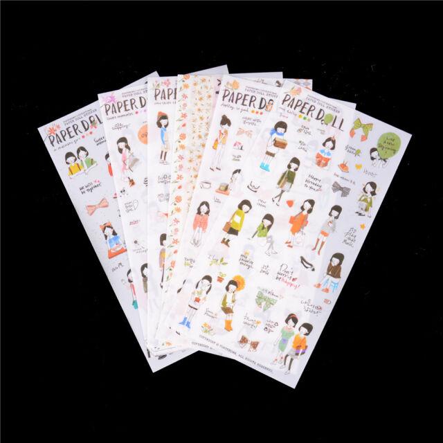6Pcs Paper Doll Korean Kawaii Sweet Girl Planner Stickers Notebook Phone Deor TB