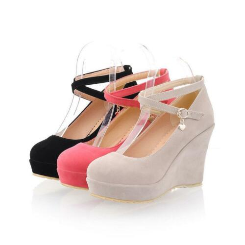 Chic Women/'s Faux Suede Wedge High Heel Ankle Strap Platform Pumps Party Shoes