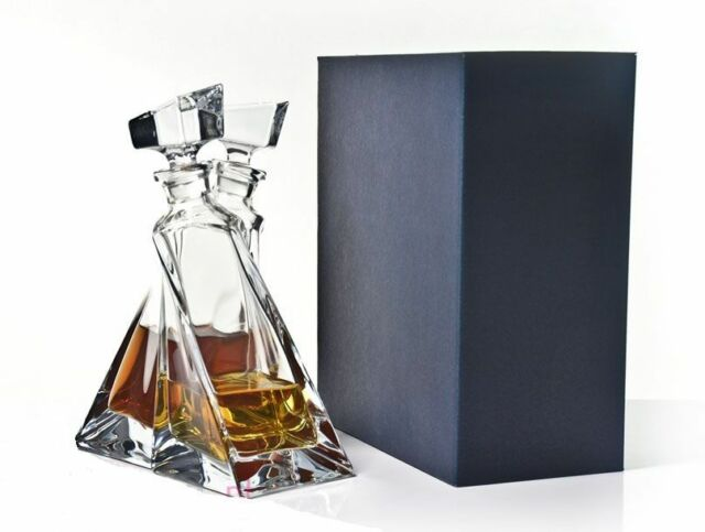 """Clear Bohemian Crystal Glass """"Lovers""""  Decanter Gift Set, Transparent"""