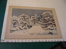 Vintage Japanese print, great color, of building in Winter, cool, mounted