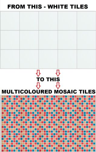 """Mosaic Tile Stickers Transfers for 148mm x 148mm 150mm x 150mm 6/"""" x 6/"""" Inch"""