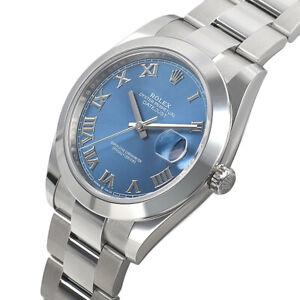 Rolex-Datejust-41mm-126300-Steel-Domed-Bezel-Oyster-Blue-Roman-Automatic-Watch