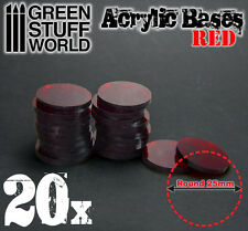 20x Peanas Acrílicas - REDONDAS 25mm ROJO TRANSPARENTES Miniaturas warhammer 40k