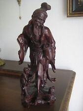 Holz Plastik Fischer Statue Schnitzerei China Japan antik Skulptur Figur alt