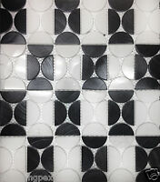 Black Polished Brushed Aluminum White Marble Kitchen Bath Wall Mosaic Tiles- 22