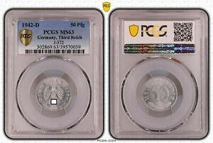 Tercer Imperio 50 Peniques Aluminio 1942 D Recién Acuñado PCGS MS63 52609