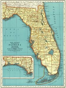 Florida Map State.Details About 1943 Antique Florida Map Vintage State Map Of Florida Gallery Wall Art 6307