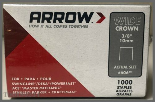 "10mm 3//8/"" Details about  /606 Wide Crown Staples - Steel 1000//Pack Arrow Fastener"