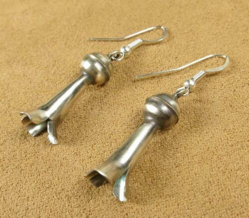 Indian Navajo Old Style Sterling Silver Squash Blossom Earrings Lenora Garcia