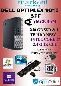 Details about Dell Optiplex 9010 SFF i7- 3 4GHz,16 GB RAM,(240 GB SSD & 1  TB SATA HDD NEW ) 10