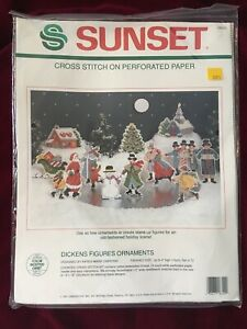 Sunset-Cross-Stitch-Kit-DICKENS-FIGURES-ORNAMENTS-Perforated-Paper-18320-NEW