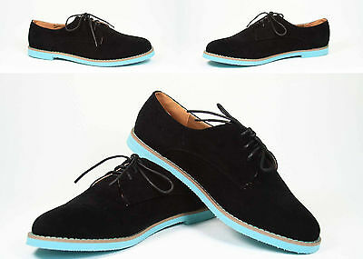 Women's Black Round Toe Comfort Lace Up Low Flat Heel Shoes  Contrasting Color