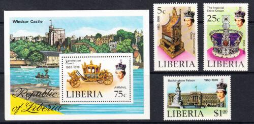 Liberia # 813-15 C221 MNH Complete 1978 QEII Coronation 25th