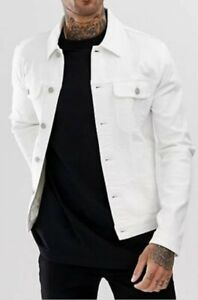 GUC DEF men's classic oversized denim jacket in off white sz Large