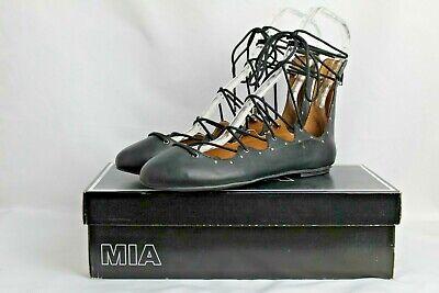 Details about  /Women/'s MIA Shoe Sandals Lace Up Soft Black Ballet Flat Model Benni New