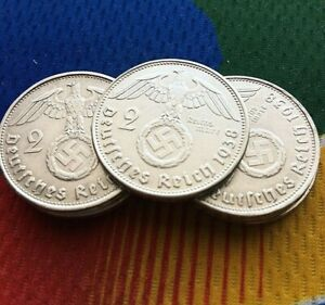 1938 A  2 mark German WWII Silver Coin Third Reich Reichsmark 5* 1