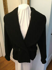 Vintage Miss New Yorker Short Black Shawl Collar Wool Jacket with Leather Trim