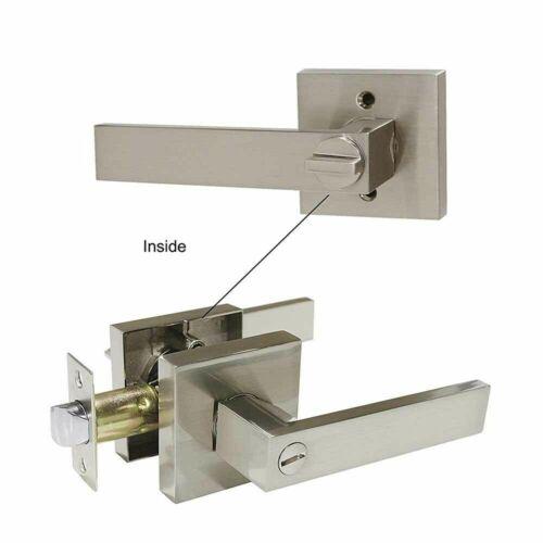 Satin Nickel Square Door Lever Locks Entrance Privacy Passage Bathroom Bedroom