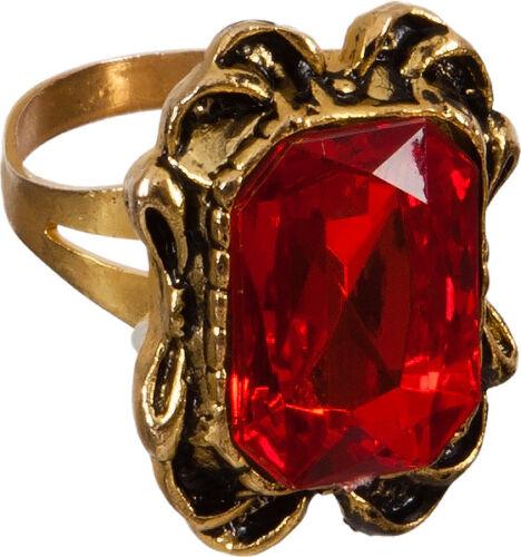 Ring roter Stein zum Vampir Graf Dracula Kostüm an Halloween Orl