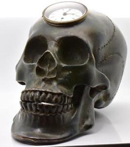 MUSEUM-antique-Georgian-Verge-Fusee-REAL-SIZE-SKULL-Memento-Mori-bronze-Clock