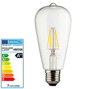 philips led lampe 7 watt e27 st64 retro filament faden gl hbirne halogenersatz ebay. Black Bedroom Furniture Sets. Home Design Ideas