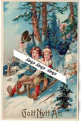 Used 1922 Beautiful Antique Gilded New Year Postcard Sweden Swedish Ebay