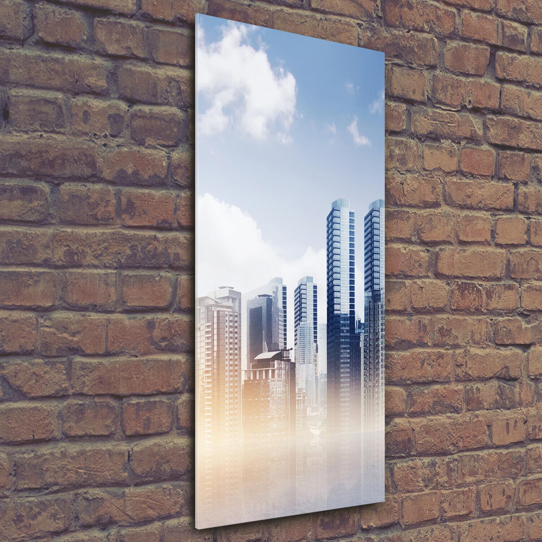 Wand-Bild Kunstdruck aus Acryl-Glas Hochformat 50x125 Wolkenkratzer