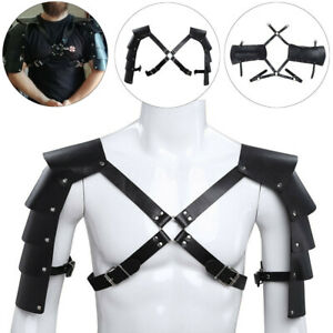 Leather-Shoulder-Armor-Body-Chest-Harness-Punk-Strap-Halloween-Gothic-Costume