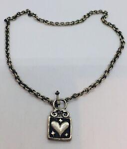 Vintage-925-Corazon-de-Plata-de-Ley-Conmutador-Collar-Firmado