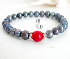 Chic-Black-Genuine-pearls-amp-Red-Natural-Coral-Bracelet-AU-SELLER-b052-8
