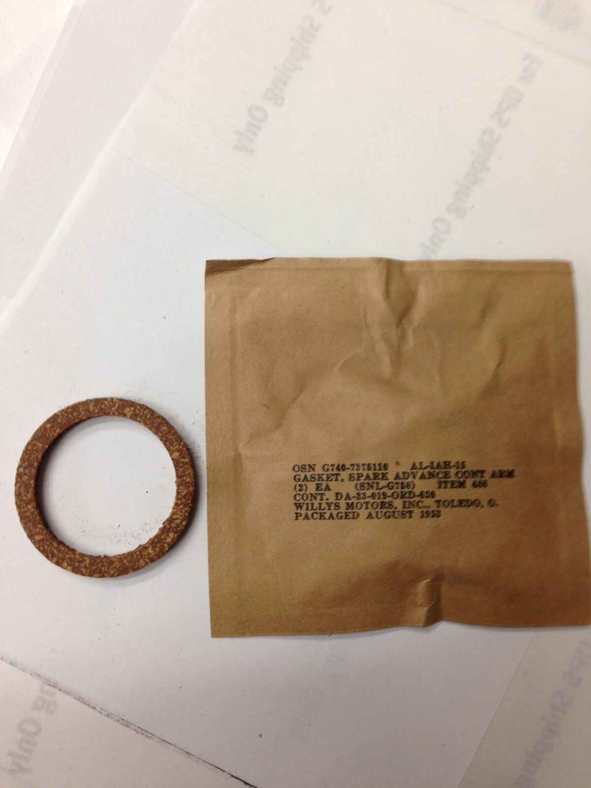 G-758 Jeep M38 G-740 M38A1 NOS Distributor to Engine Seal