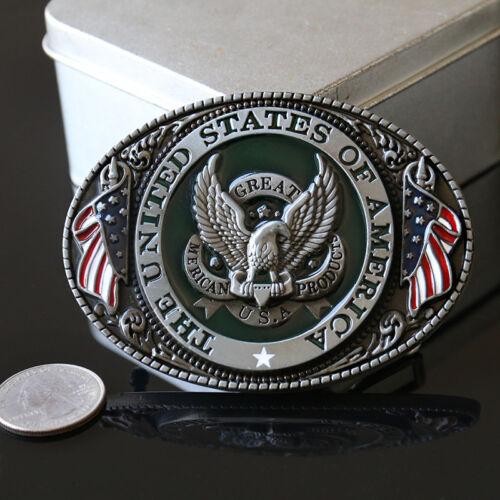 USA American Flag Eagle Western Cowboy Man Metal Alloy Waistband Men Belt Buckle