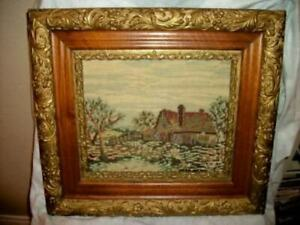 ANTIQUE-VICTORIAN-PICTURE-FRAME-GOLD-GESSO-OAK-WOOD-NEEDLEPOINT-COTTAGE-PICTURE