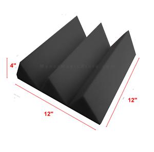 Acoustic Foam Wedge 24 HUGE Charcoal Gray soundproof panels 12x12x4 tiles each