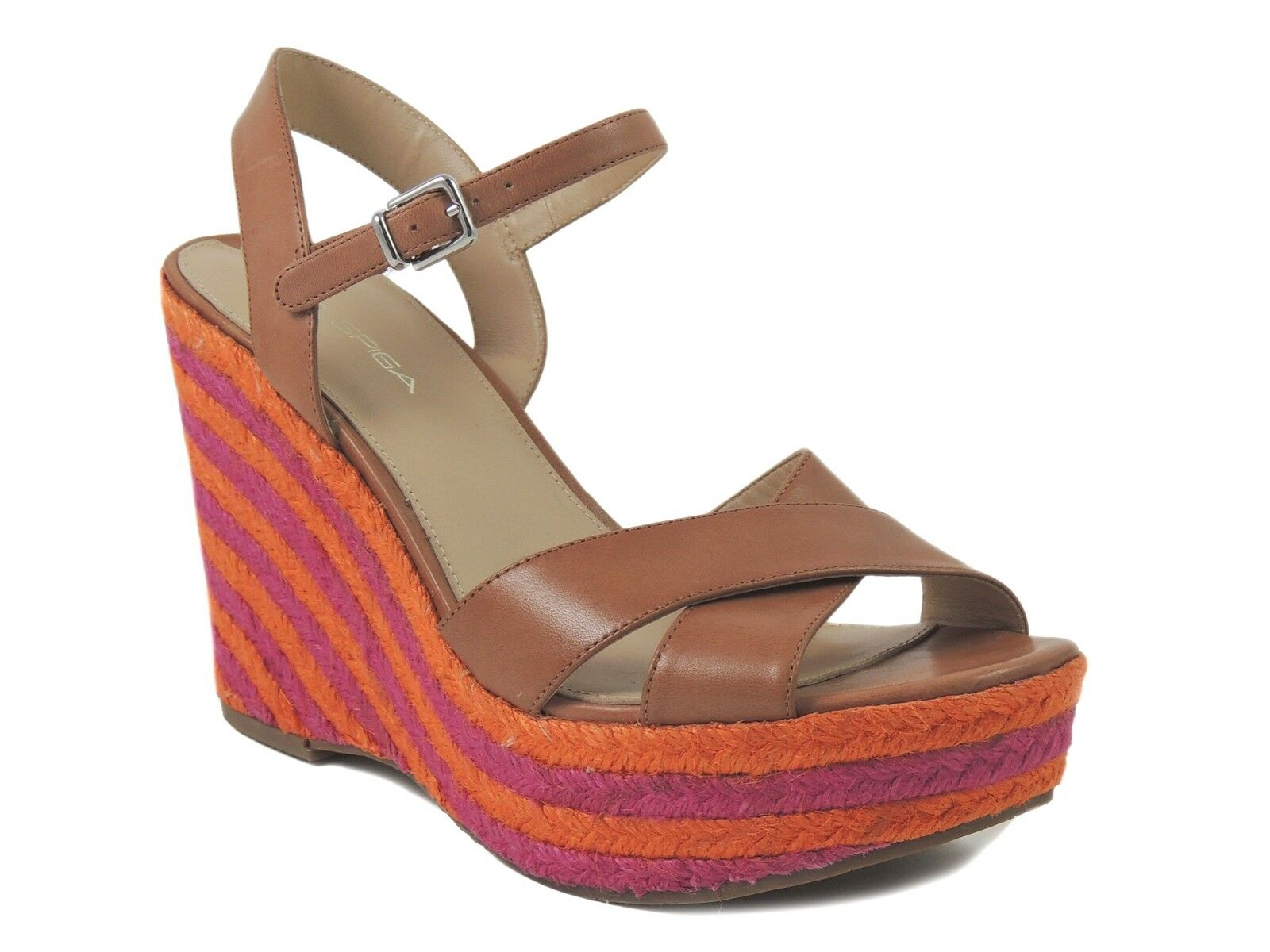 Via Spiga Women's Evelina Wedge Sandals Leather Cinnamon Brown Size 8.5 M