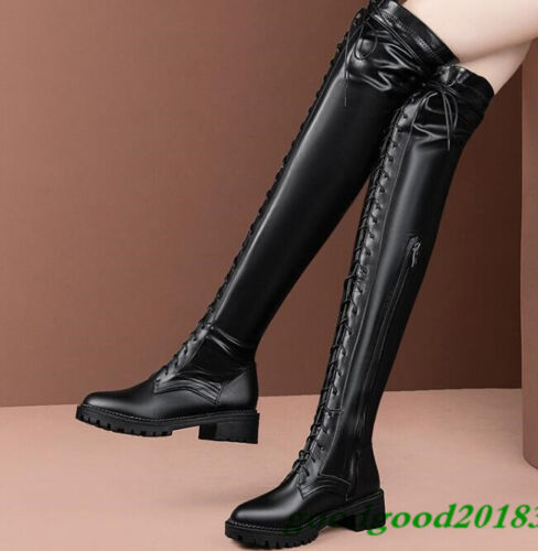 Women/'s Lace Up Knee High Calf Boots Leather Winter Military Combat Biker Shoes