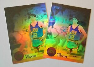 1992-UPPER-DECK-JOHN-STOCKTON-AW-2-3-D-COLOR-HOLOGRAMS-LOT-2-MINT-RARE-INSERTS