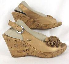 BOC Born Concept Gold Sandals Sz 9 Leather Flower Cork Platform Wedge Heel Shoes