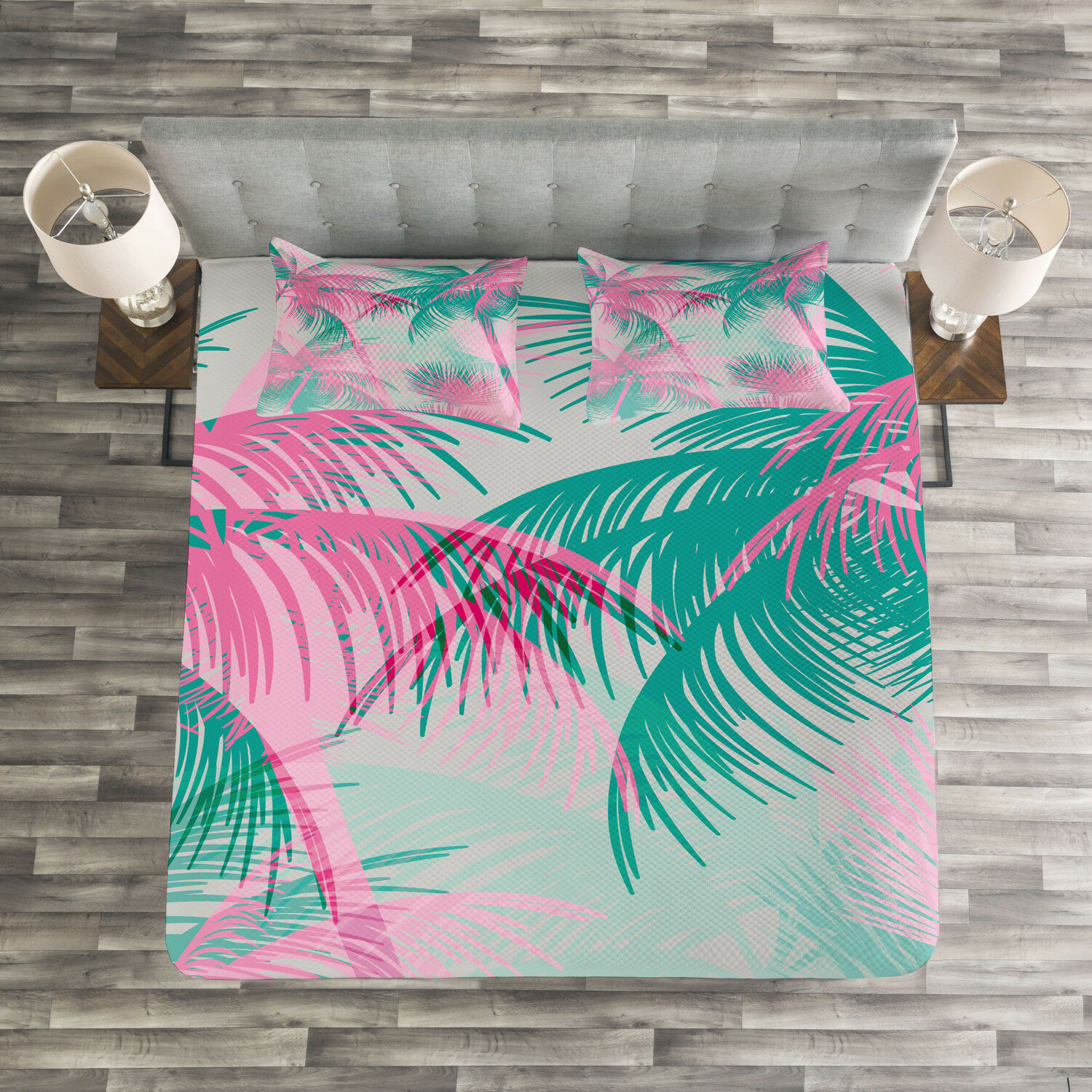 Palm Leaf Quilted Bedspread & Pillow Shams Set, Beach Party Vintage Print