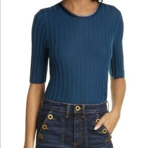 Veronica-Beard-Delilah-Sweater-M-Blue-Ribbed-Metallic-Trim-Wool-Pullover-375