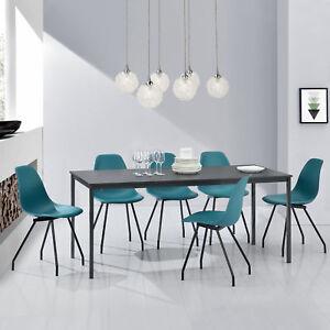 en-casa-MESA-de-Comedor-Con-6-sillas-gris-turquesa-160x80cm-Cocina