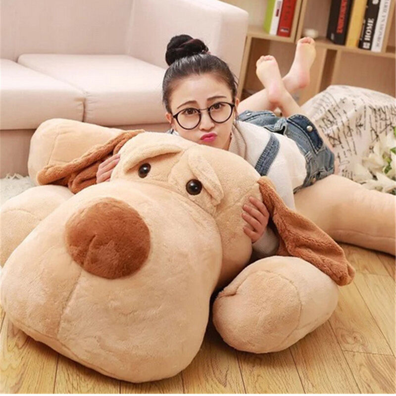 59''Giant Big Large Lying Dog Plush soft Toy Stuffed Animal Sleeping Pillow Doll