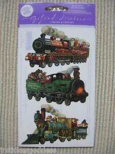 Gifted Line Vintage Scrapbook Stickers Christmas Trains Locomotive John Grossman