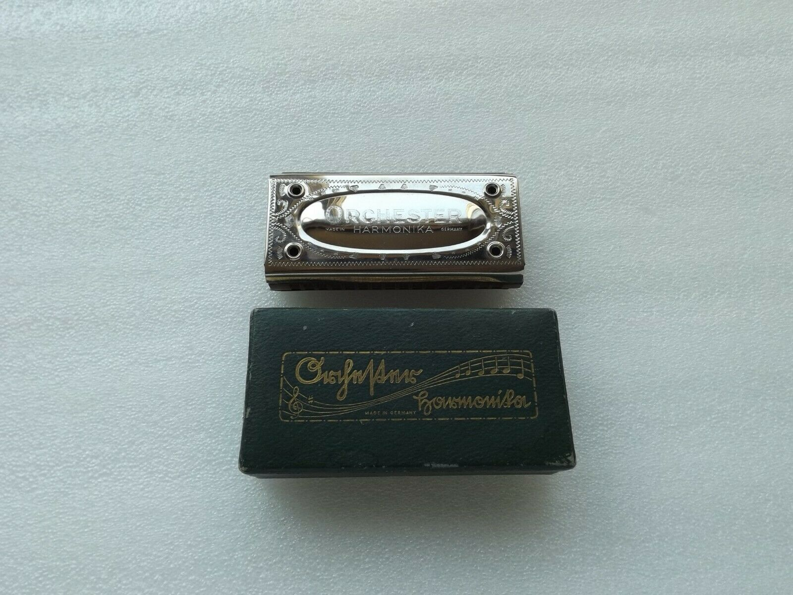 Vintage Germany Harmonica ORCHESTER C G  Double Sided Harmonica w  Original Box
