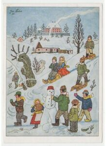 1957-Jos-Lada-J-Lady-Tarjeta-Postal-Navidad-Ninos-Juegos-Nieve-Vintage-Vanoce