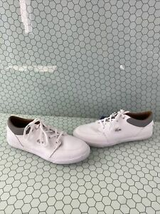 Lacoste-BAYLISS-White-Leather-Lace-Up-Low-Top-Fashion-Sneakers-Men-s-Size-12