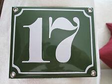SMALTO-numero civico n. 17 numero verde su sfondo bianco 12 CM x 10 cm